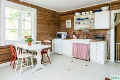 Cottage Design, Cottage Style, Unfitted Kitchen, Home Upgrades, Log Homes, Country Kitchen, My Room, Cool Kitchens, Kitchen Dining