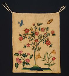 Textiles (Needlework) - Bag (Work bag) - Search the Collection - Winterthur Museum Embroidered Roses, Embroidered Clothes, Sewing Pockets, Century Textiles, Lavender Bags, Winterthur, Work Bags, Antique Quilts, Antique Clothing