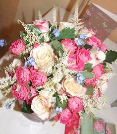 Rose, astilbe, forget me nots & pittosporum bouquet