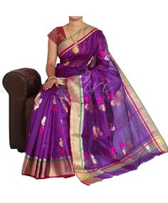 Violet light weight silk saree in rich borders and big zari buti. It comes with an unstitched running blouse fabric