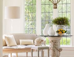Swedish settee and a beautiful column base for a table.   Photo from Shannon Bower's design portfolio.