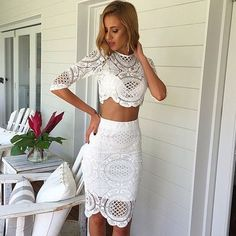 2017 custom charming white lace short prom dress,two pieces evening dress,sleeveless layered homecoming dress - Thumbnail 1