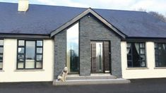 County down extension Bungalow Porch, Modern Bungalow Exterior, Modern Bungalow House, Modern Farmhouse Exterior, Dormer Bungalow, Bungalow Designs, Exterior Houses, Bungalow Ideas, Porch Designs Uk