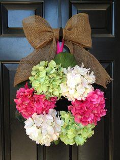 Spring Wreath-hydrangeas & burlap