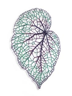 The Artwork of Meredith Woolnough. Begonia leaf embroidery thread and pins on paper. Embroidery Leaf, Paper Embroidery, Embroidery Patterns, Machine Embroidery, Quilting, Thread Painting, Leaf Coloring, Leaf Art, Textile Artists
