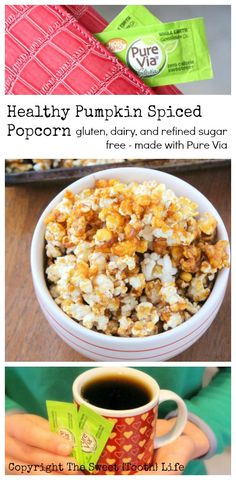 """Healthy Pumpkin Spiced Popcorn.  Crunchy, """"buttery"""", pumpkin spiced and gluten, dairy, egg, and refined sugar free! @purevia"""