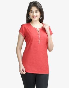 Fabindia is India's largest private platform for products that are made from traditional techniques, skills and hand-based processes. Kurtha Designs, Shirt Blouses, Shirts, Kurtis, Beautiful Outfits, Hand Weaving, Tunic Tops, V Neck, Stitch