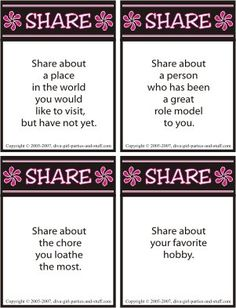 Ice breakers Women bond and build relationships when they share conversation. Use this sharing icebreaker as a conversation starter at a party, girls night, or women's meeting. Tea Party Games, Birthday Party Games, Spa Party, Carnival Birthday, 20th Birthday, Party Snacks, Craft Party, Ice Breakers For Women, Group Ice Breakers