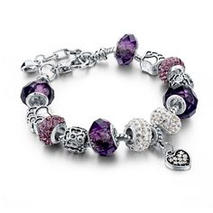 Long Way Silver Plated Snake Chain Charm Bracelets Bangles Purple Murano Glass & Crystal Beads Fit Pandora Bracelet For Women - Jewelry For Ladies Silver Charm Bracelet, Silver Charms, Gold Bangles, Bangle Bracelets, Silver Bracelets, Simple Bracelets, Pandora Bracelets, Strand Bracelet, Diamond Bracelets