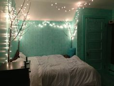 This is gorgeous! Mint bedroom with lights