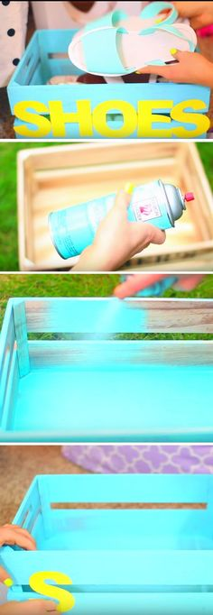 Shoe Crate | Click Pic for 20 Cool DIY Projects for Teen Girls Bedrooms | Easy Crafts for Teen Girls to Make