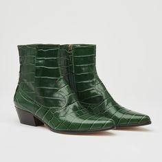 Choral Green Croc-Effect Leather Cowboy Boots Peep Toe Wedding Shoes, Toe Shape, Low Heels, Leather Heels, Crocs, Cowboy Boots, Shopping Bag, Shoe Boots, Footwear