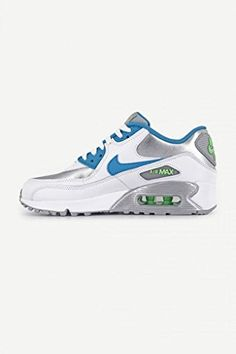 premium selection d15fe 56145 Nike Youths Air Max 90 White Silver Leather White Silver Leather Trainers  365 EU  gt