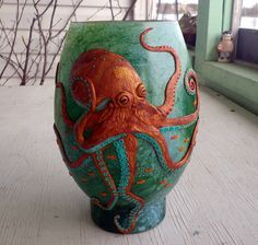 Wicked Copper and Turquoise Octopus Sculpted with Polymer Clay
