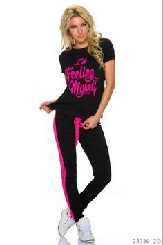Σετ φόρμας jogging με print - Μαύρο Νέον Ροζ T Shirt, Tops, Women, Style, Fashion, Moda, Tee Shirt, Fashion Styles, Shell Tops
