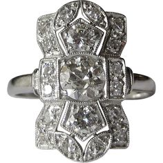 Vintage Diamond & Platinum Dinner Ring - by gandsco on Ruby Lane. Dazzling Deco platinum and diamond ring containing approximately 1 carat total weight of round brilliant diamonds.