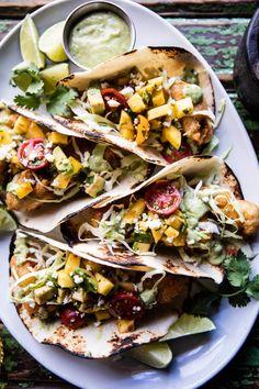 Baja Fish Tacos with Chipotle Mango Salsa | halfbakedharvest.com @hbharvest