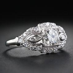Platinum and Diamond Art Deco Engagement Ring