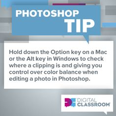 Tip: Hold down the Option key on a Mac or the Alt key in Windows to check where a clipping is and giving you control over color balance when editing a photo in #Photoshop.