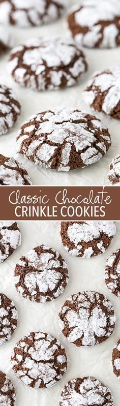Chocolate Crinkle Cookies - soft and chewy centers with lightly crunchy edges! Classic holiday cookie!