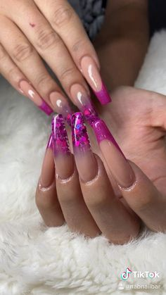 Nude Coffin Shape Acrylic Nails with Pink and Purple Encapsulated glitter by NAB Nail Bar Las Vegas Book Today Text or call 702-577-1680 www.nabnailbar.com