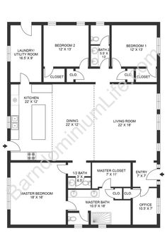 Barn Homes Floor Plans, Barndominium Floor Plans, Pole Barn House Plans, Pole Barn Homes, New House Plans, Dream House Plans, Cabin Plans, Small House Plans, Open Floor Plans