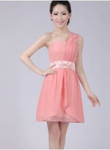 ALICIA - A-line Knee length Chiffon One shoulder Chinese Cheap Wedding Party Dress