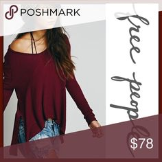 Free People Sunset Park Thermal ➖BRAND : Free People  ➖SIZE: Medium ➖STYLE: Sunset Park Thermal In Red / Wine      ❌NO TRADE  Oversized slouchy  Entropycat Free People Sweaters V-Necks