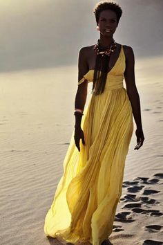 pinterest.com/fra411 #black #beauty in Yellow dress