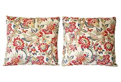 Stout Pattern: Denton 1 Multi on Jacobean Print Pillows, Pair at OneKingsLane.com