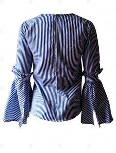 Slit Bell Sleeve Striped Shirt - STRIP PATTERN XL