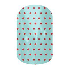 Swiss Dot Powder Blue and Poppy  nail wraps by Jamberry Nails- I didn't love this look till I saw it on a friend! now it's a favorite