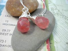 Cherry Quartz earrings sterling silver wire wrapped briolettes | #FadedLeaves - Jewelry on ArtFire