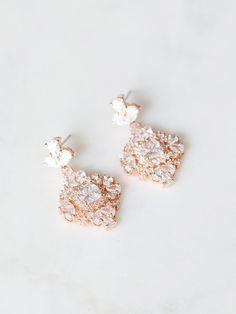 Crystal Rose Gold Earrings | ROSLYN EARRINGS – Davie & Chiyo