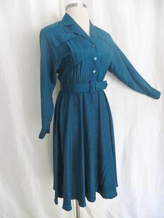 vintage womens teal blue shirtwaist dress, lightweight summer dress, long sleeve Trends by Jerr Vintage 70s, Vintage Shops, Vintage Ladies, Green Turquoise, Teal Blue, Shirtwaist Dress, Dress Long, Vintage Dresses, Wrap Dress