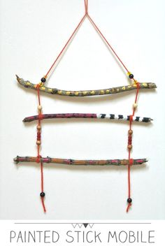 Crafts for Kids: Painted Stick Mobiles