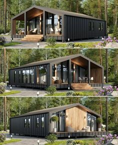 Houses-From-Recycled-Shipping-Containers Shipping Container Home Designs, Shipping Containers, Shipping Container Buildings, Shipping Container Interior, Prefab Shipping Container Homes, Building A Container Home, Cargo Container Homes, Storage Container Houses, Container Home Plans