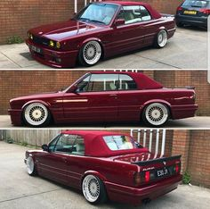 BMW E30 3 series cabrio burgundy slammed