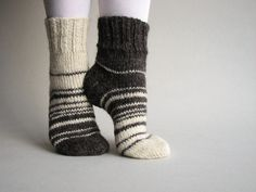 Asymmetrical Hand Knitted Socks Striped Woolen Natural by milleta