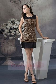 Charming Sweetheart Leopard and Satin Cocktail Party Dress in Brown and Black Evening Dresses Uk, Best Prom Dresses, Holiday Dresses, Homecoming Dresses, Dress Prom, Party Dresses, Unique Bridesmaid Dresses, Affordable Prom Dresses, Cheap Dresses