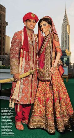 Boxer Amir Khan and his bride Faryal Makhdoom in Tarun Tahiliani