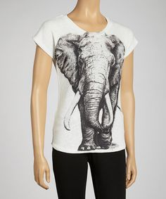 Take a look at this Gray Elephant Face Top by Barcode Apparel on #zulily today! $17 !!