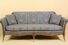 Vintage Sofa Cushions On Sofa, Couch, Vintage Sofa, Hand Carved, Auction, Carving, Elegant, Antiques, Classic