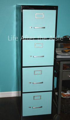 DIY Filing Cabinet Redo. A great way to bring new life to an old metal filing cabinet.