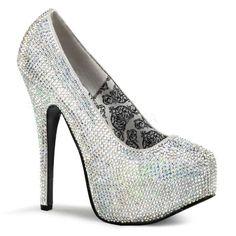 Teeze-06R - Silver Satin Iridescent Rhinestones - TEEZE-06R, 5 3/4`` Rhinestoned Concealed Platform Pump5 3/4`` Heel, 1 3/4`` Concealed Platform, Rhinestoned PumpTeeze Shoes 5 3/4`` Heel in Platform High Heels