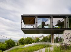 Gallery of House in the Vineyards / Dietrich | Untertrifaller Architekten + Alexander Janowsky - 1 Garden Levels, Glass Balustrade, Take The Stairs, Exposed Concrete, Glass Facades, Terrace Garden, Steel Structure, Open Plan Living, Glass House