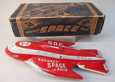 1950s-ROCKET-SPACE-SHIP-305-by-Automatic-Toy-tin-friction-Near-mint-in-box