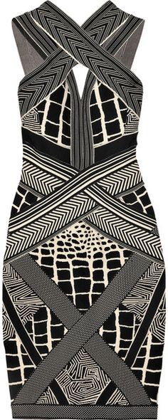 HERVE LEGER Geometric Brocade Bandage Dress - Lyst