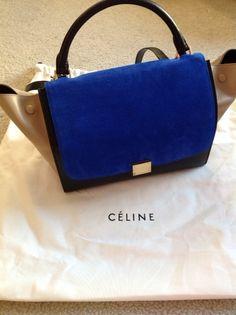 Celine Trapeze Bag Tri Color with Royal Blue Flap via rareluxus.com