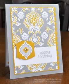 More Eastern Elegance!-Stamps: Mosaic Madness, Made for You Paper: Smoky Slate CS, Crushed Curry CS, Whisper White CS, Eastern Elegance DSP Ink: Smoky Slate Stamp Pad Accessories: Mosaic Punch, Artisan Punch, Scallop Border Punch, Itty Bitty Shapes Punch Pack, Rhinestones, Dimensionals